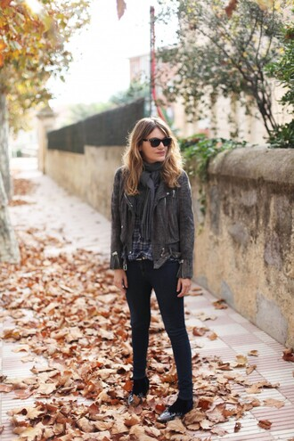 my daily style blogger jacket shoes scarf rock