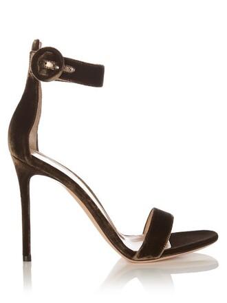 sandals velvet khaki shoes