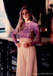 pants,celebrity,sharon stone,wide-leg pants,pink pants,lace top,crop tops,see through,mesh,light pink