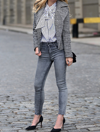 jacket tumblr grey jacket printed jacket shirt stripes striped shirt denim jeans grey jeans skinny jeans pumps high heel pumps pointed toe pumps high heels black heels office outfits work outfits fall outfits