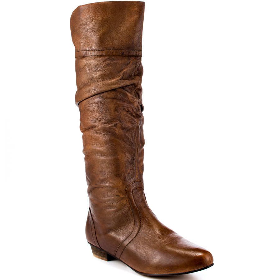 slouchy leather brown boots steve madden casstro