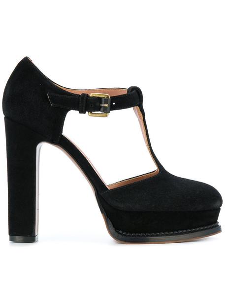 L'Autre Chose women sandals leather suede black shoes