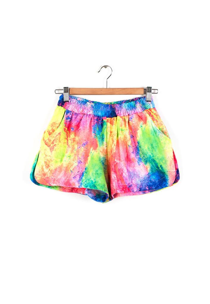 Tie dye rainbow beach running shorts