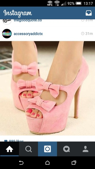shoes pink bows heels with bows heels high heels