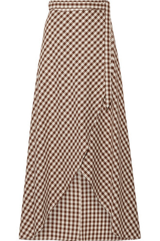 skirt maxi skirt wrap maxi skirt maxi dark cotton brown gingham