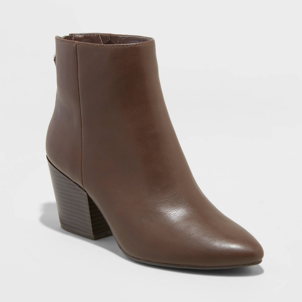 Women's bren faux leather zipper back bootie - a new day&™ brown 8.5