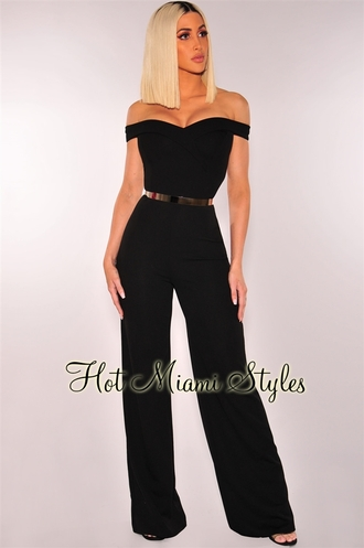 jumpsuit off the shoulder black