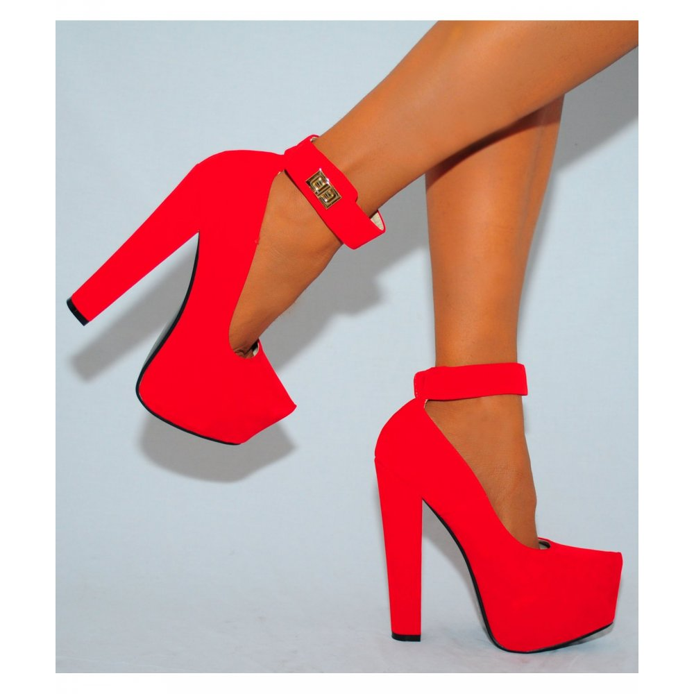 bc23cef7bbe9 Ladies red faux suede ankle strap block high heel platform shoes