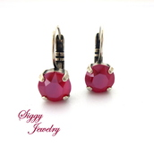 jewels,siggy jewelry,swarovski,earrings,red,ruby,ruby red,royal red,hot red,hot pink,style,fashion accessory,fashion jewelry,drop earrings,lever back earrings,cute,trendy,bling,sparkle,valentines day gift idea,christmas jewelry,etsy