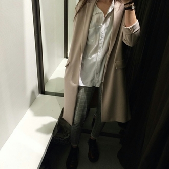 coat beige beige coat oversized oversized coat huge coat large coat blouse white blouse button up blouse american apparel pants ankle boots casuals fashionista chill rad gorgeous women fall outfits winter outfits winter swag style stylish trendy classy tumblr girl cool blogger instagram streetstyle streetwear clothes nude neutral on point clothing