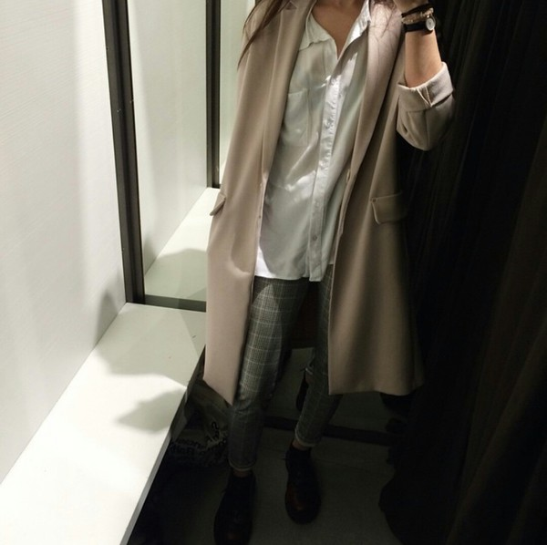 coat beige beige coat oversized oversized coat huge coat large coat blouse white blouse button up blouse american apparel pants ankle boots casuals fashionista fashionista chill rad gorgeous women fall outfits winter outfits winter swag style style stylish trendy trendy trendy classy tumblr girl cool blogger instagram streetstyle streetwear clothes nude nude neutral on point clothing