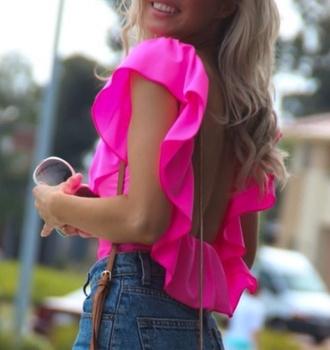 blouse pink princess shirt openback pink dress pinkshirt beautiful nice hot summer summer dress summer shirt summershirt make-up women lady ladies openback top style