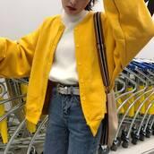 jacket,ulzzang,ulzzang style,ulzzang jacket,harajuku,oversized,oversized jacket,oversized bomber jacket,bomber jacket,yellow oversized bomber jacket,yellow bomber jacket,yellow,yellow coat,yellow jacket,knit,knitwear,coat