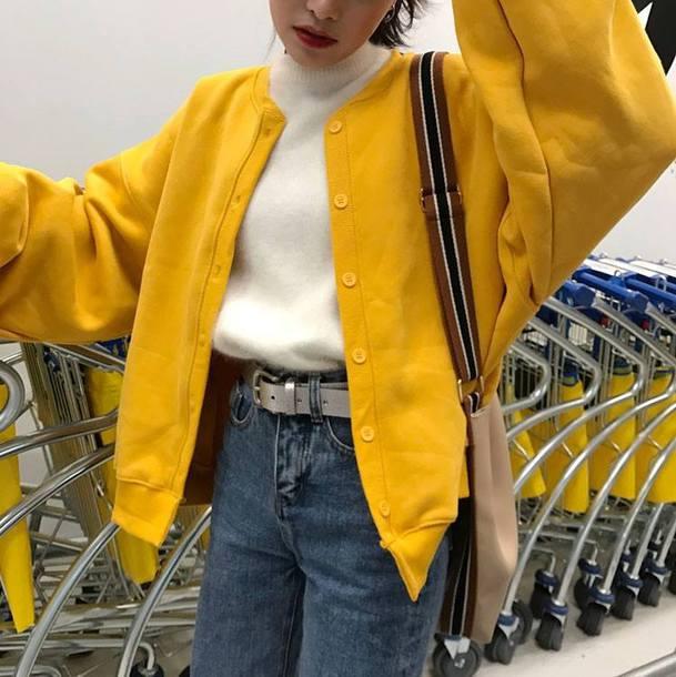 jacket ulzzang ulzzang style ulzzang jacket harajuku oversized oversized jacket oversized bomber jacket bomber jacket bomber jacket yellow oversized bomber jacket yellow bomber jacket yellow yellow coat yellow jacket knit knitwear coat