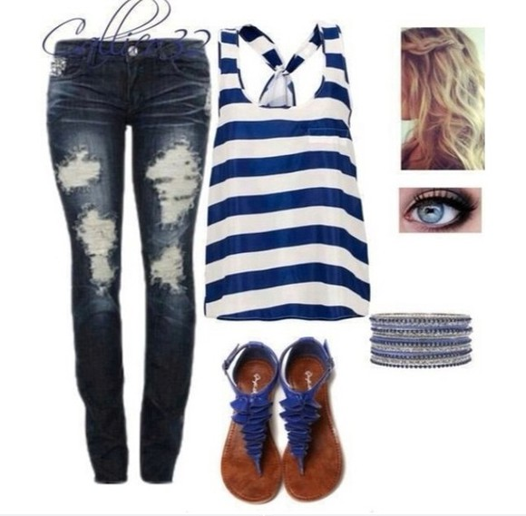 blue blue and white striped jewels ripped jeans skinny jeans, tank top blue sandals stacked bracelets silver