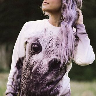 sweater fusion clothing sweatshirt owl violet hair printed sweater winter sweater style clothes fashion lilac