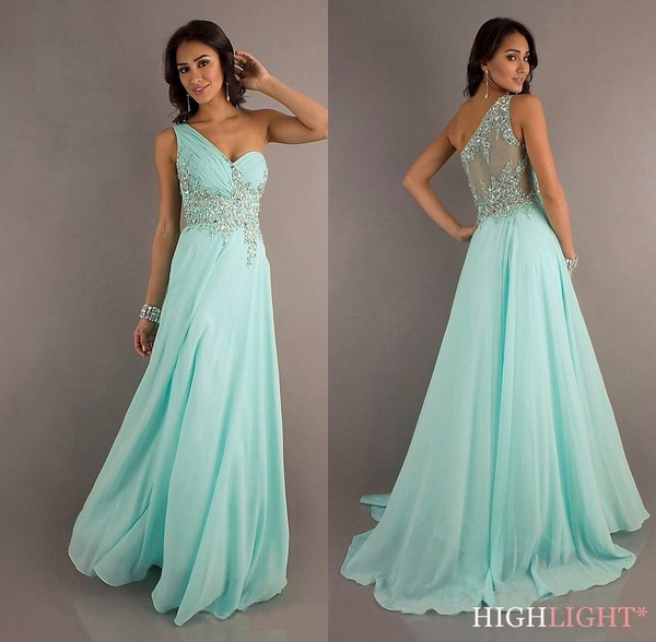 dress light blue turquoise homecoming long dress sequins one shoulder dress aqua baby blue
