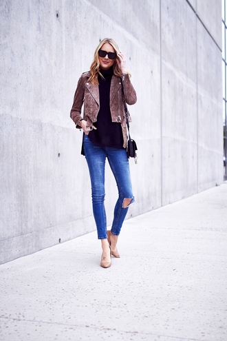 fashionjackson blogger jacket sweater jeans shoes sunglasses bag jewels suede jacket high heels nude heels shoulder bag