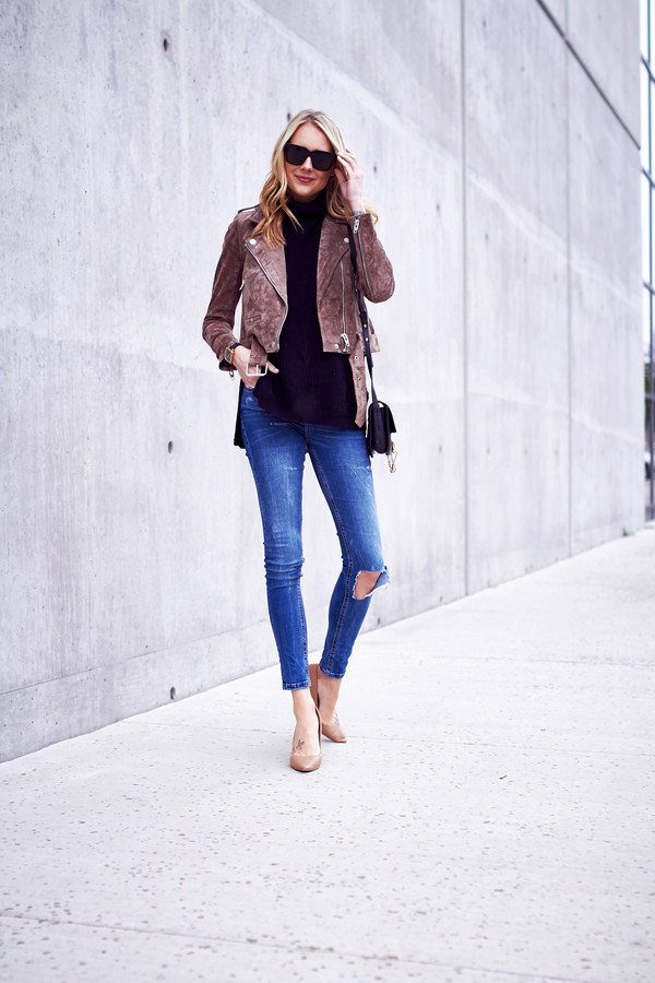 2d5c26ab2494 fashionjackson blogger jacket sweater jeans shoes sunglasses bag jewels  suede jacket high heels nude heels shoulder.