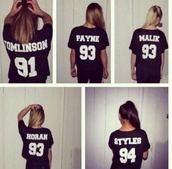 shirt,one direction tees,jersey,frends,t-shirt,liam payne,91,93,94,black shirt,quote on it,styles,horan,zayn malik,payne,louis tomlinson,number,one direction,harry styles,niall horan,zayn malik sweater m,dress,blouse,black one direction jersey!,horan 93,black t-shirt,one direction sweater,band merch,band t-shirt,sweater
