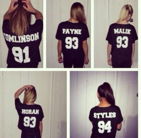 shirt t-shirt blouse black one direction jersey!