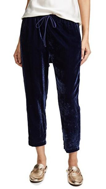 XIRENA pants velvet pants velvet blue