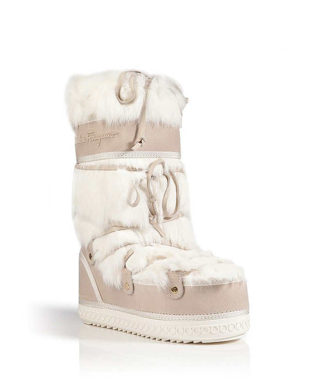 Rabbit Fur/Nubuck Rembrandt Boots in Porcelain from SALVATORE FERRAGAMO | Luxury fashion online | STYLEBOP.com