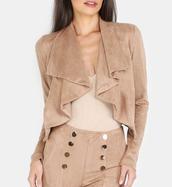 jacket,girl,girly,girly wishlist,crop,cropped,cropped jacket,brown,suede,suede jacket,cute