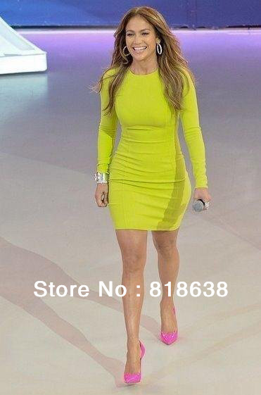 2013 New arrival lime green long sleeve hl bandage dresses rose red ,apple green  ,black,orange ,blue celebrity kim kardashian-in Celebrity-Inspired Dresses from Apparel & Accessories on Aliexpress.com