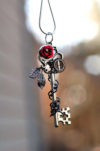 jewels rose key chain leaves necklace