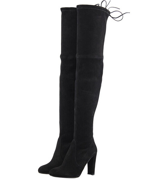 gray black chunky heel suede leather thigh high boots