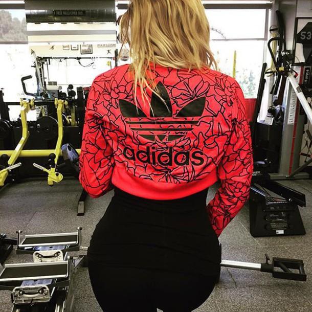 jacket khloe kardashian adidas red jacket adidas originals red