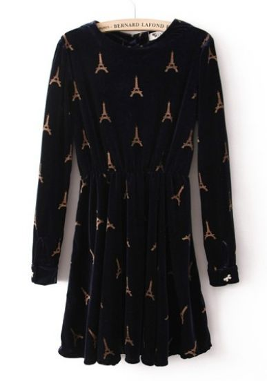 Navy Long Sleeve Towers Pattern Bow Dress - Sheinside.com