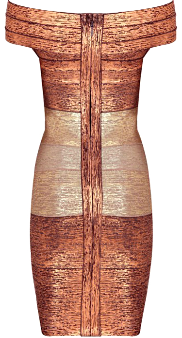 Gradient Woodgrain Foil Print Bardot Bandage Dress Gold