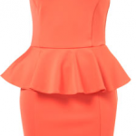 Zara Neon Orange Peach Peplum Dress - Big Blonde Hair  : Big Blonde Hair