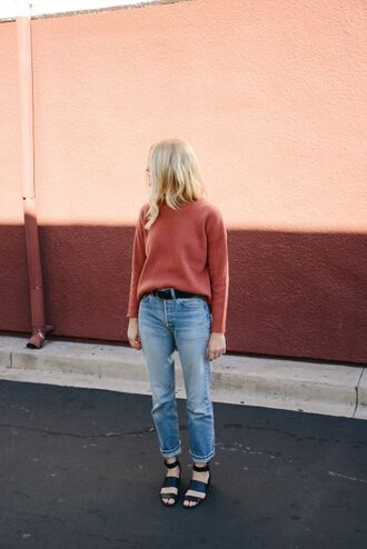 sweater straight jeans light blue jeans black sandals fall colors fall outfits back to school college pink sweater
