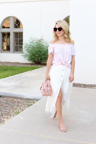 skirt maxi skirt crochet hem skirt off the shoulder top sandals handbag blogger blogger style