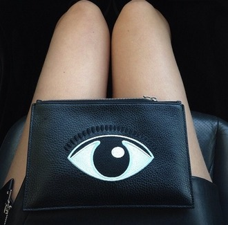 bag eye evil eye cluch makeup bag tumblr black