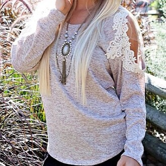 shirt crochet top oatmeal top style stylish trendy off the shoulder sweater