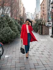 coat,tumblr,red coat,denim,jeans,blue jeans,skinny jeans,pumps,bag,black bag,top,stripes,striped top,glasses