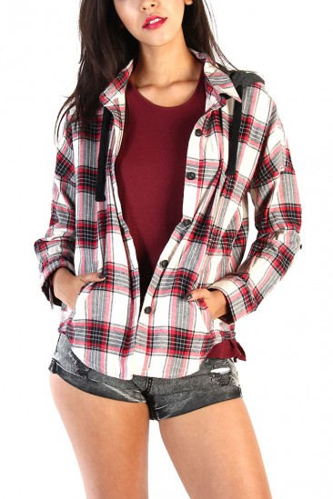Hooded plaid print button up shirt with pocket