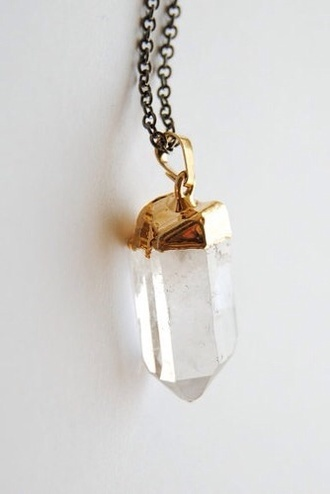 beautiful jewels necklace quartz clear gold