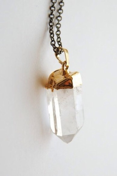 necklace clear quartz jewels gold beautiful