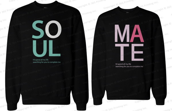 matching couples his and hers sweatshirts his and hers shirts his and hers gifts soul mate soulmates soulmate sweatshirts soul mate sweatshirts matching couple sweatshirts matching sweatshirts bf and gf newlyweds gift couple sweaters couple sweaters