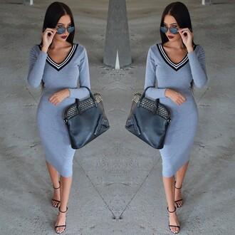 dress grey knee length dress party dress fashion casual bag shoes