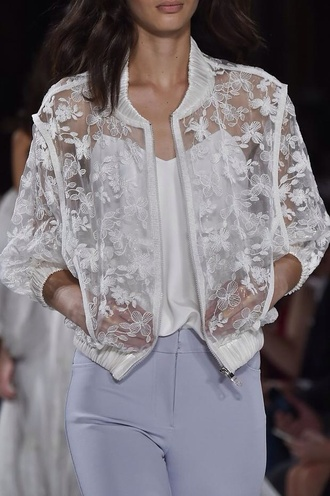 jacket white see through lace designer fashion show catwalk transparent flowers floral satin zip up zip