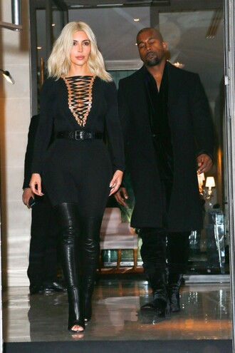 top bodysuit kim kardashian fashion week 2015 knee high boots over the knee boots black all black everything shoes lace up top jumpsuit