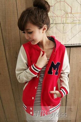 red red jacket baseball jacket