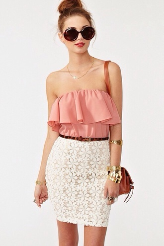 dress flounced dress off the shoulder pink top skirt clothes lace crochet cute dress sexy dress summer dress beautiful fashion girly outfit sammydress floral