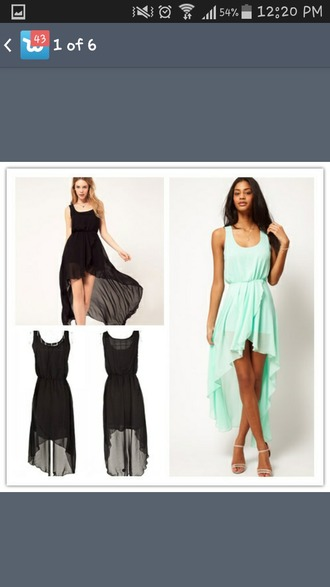 dress chiffon dress high-low dresses mint dress black dress